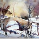 Pont dans la neige