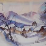 village enneigé 50x70