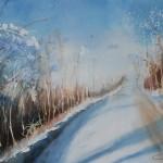 aquarelle route enneigée
